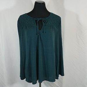 Old Navy Lace Yoke Green Blue Blouse